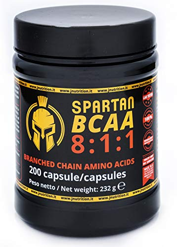 JNUTRITION SPARTAN BCAA 811 Aminoacidi ramificati 200 capsule, fermentazione vegetale naturale, bcaa 8 1 1, bcaa 8.1.1,