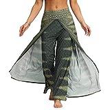 Nuofengkudu Mujer Hippie Largo Pantalones Dividir Pata Ancha Flores Estampados Sueltos Elegantes Comodos Thai Yoga Pants Verano Playa Vacaciones(Verde,S/M)
