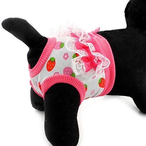 ペット生理用品 犬 サニタリーパンツ 小型犬 おむつカバー マナーパンツ メス 可愛い いちご柄 雌犬 老犬用 犬の発情期 介護用 生理用 発情期用 マナーウエア あ出かけ 散歩 ピンク L