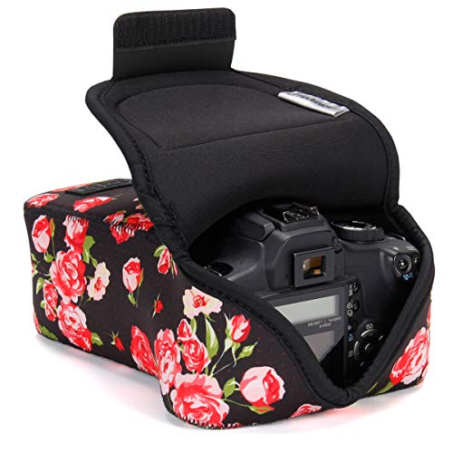 USA GEAR DSLR Camera Case and Zoom Lens Camera Sleeve (Floral) with Neoprene Protection, Holster Belt Loop and Accessory Storage - Compatible with Canon, Nikon, Sony, Olympus, Pentax and More