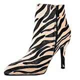 Women's Tiger Print Ankle boots High Heels Pointed Toe Shoes for Wedding Party