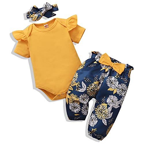 Renotemy Infant Baby Girl Summer Clothes Newborn Outfits Romper Little Sassy Pants Sets Baby Girl Clothes 0-3 Months