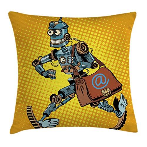 "Ambesonne Retro Throw Pillow Cushion Cover, Pop Art Comic Book Style Robot Mailman Vintage Science Fiction Design, Decorative Square Accent Pillow Case, 18"" X 18"", Blue Yellow"