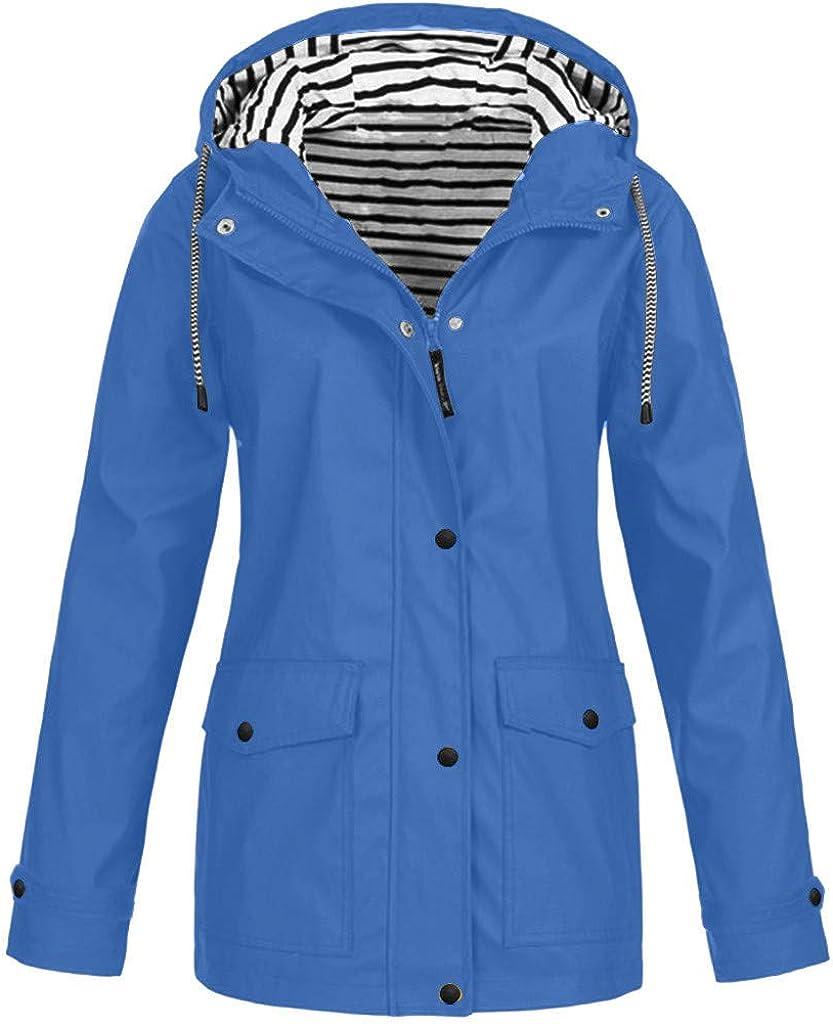 Plus Size Rain Jackets Windbreaker Waterproof Women, NRUTUP Winter Jacket Outdoor Hooded Coat Warm Overcoat Ladies (Blue7, 20)