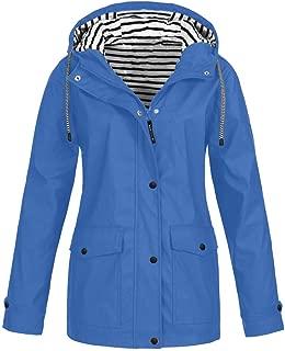 Rain Jacket Women Raincoat Waterproof Winderproof Outdoor Lightweight Packable Hooded Outwear