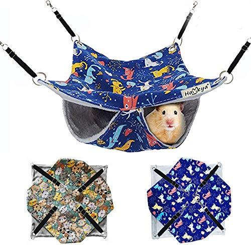 Hamaca colgante para mascotas de Homeya, juguete para hurones, hámster, loro, rata, cobayas, ratones, chinchilla, ardilla, saco de dormir para siesta, cama columpiada (2 unidades)