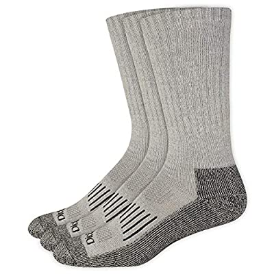 Dickies Men's 3 Pack Heavyweight Cushion Compression Work Crew, Grey, Shoe Size: 6-12 (Sock Size: 10-13)