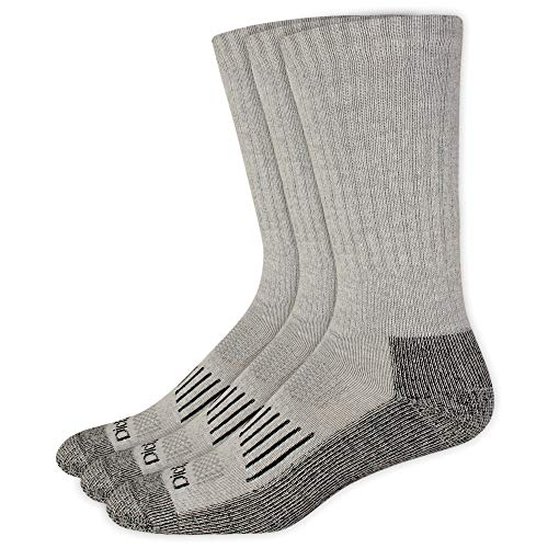 Dickies Men's Heavyweight Cushion Compression Work Crew Socks, Grey (3 Pairs), Shoe Size: 6-12