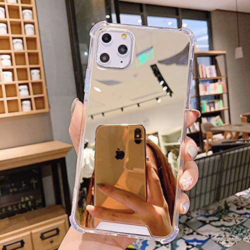 Estuche transparente para teléfono con espejo de maquillaje para iPhone 12 11 Pro Max XR XS Max 7 8 Plus X Funda trasera de silicona a prueba de golpes para teléfono Coque, Dorado, Para iphone 6 6s