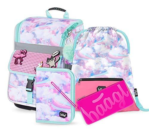 Schulranzen Mädchen Set 4 Teilig - Zippy Schultasche ab 1. Klasse - Grundschule Ranzen mit Brustgurt - Ergonomischer Schulrucksack (Regenbogen)