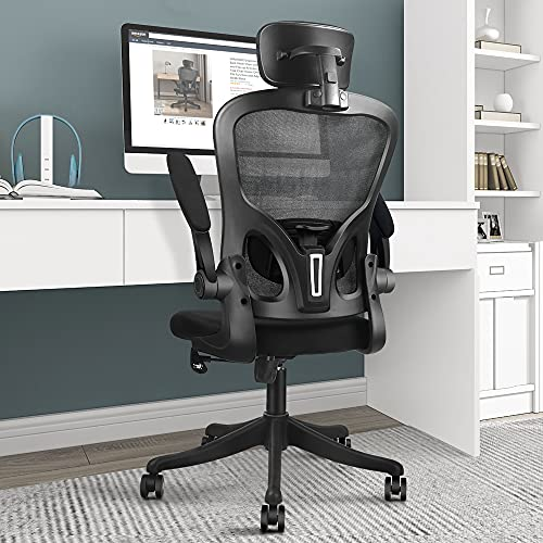 VANSPACE Ergonomic Office Chair High Back Mesh Chair with Lumbar Support and Flip-up Armrest, Swivel Computer Task Chair Home Office Desk Chair with Tilt Function and Adjustable Headrest, DC06 Black