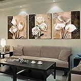 YIMENGSX Wall Art Home Decor Quadro Quadri su Tela 3 Pezzi Astratti Tulipano Fiori Dipinti per Soggiorno Stampe HD Poster, Cornice, 50cm x 50xm x 3pz