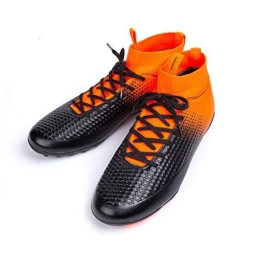 Botas de Fútbol Hombre con Calcetines Profesión Zapatos de Fútbol Niños Entrenamiento Zapatillas Fútbol Sala Transpirables 1 Naranja 35 EU