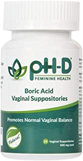 pH-D Feminine Health - Boric Acid Suppositories - Woman Owned Natural Alternative to Restore Vaginal Balance - Prevent Odor from Menstruation, Exercise, Intimacy & Menopause – 600 mg x 24 count