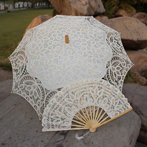 XKMY Sombrilla de encaje hecho a mano para boda, decoración de fiesta de novia, color beige y abanico