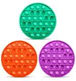 Push Pop Bubble Fidget Sensory Toy, 3 Pack Pop it Fidget Toys, Bubble Popper Push Pop Fidget Toys for Autism ADHD Special Needs Stress Reliever Anti-Anxiety Silicone Squeeze Toy for Kids Adults