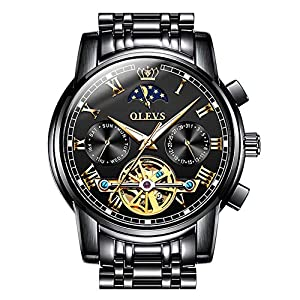OLEVS Mens Watch Automatic Mechanical Tourbillon Slef-Wind Luxury Stainless Steel Waterproof Luminous Date Wrist Watch