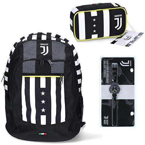 Juventus Kit Scuola 2020/2021 Zaino Seven A Doppio Scomparto con Astuccio Quick Case Completo di Cancelleria e Orologio in Omaggio - 100% Originale - 100% Prodotto Ufficiale