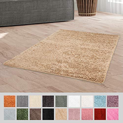 Taracarpet Hochflor Langflor Shaggy Teppich geeignet für Wohnzimmer Kinderzimmer und Schlafzimmer flauschig und pflegeleicht beige 080x150 cm