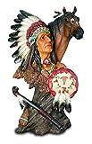 Reproduction - Estatua de resina india, escudo de caballo 37/19/19 cm