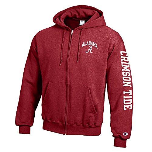 Elite Fan Shop Alabama Crimson Tide Full Zip Hoodie Sweatshirt Letterman - X-Large