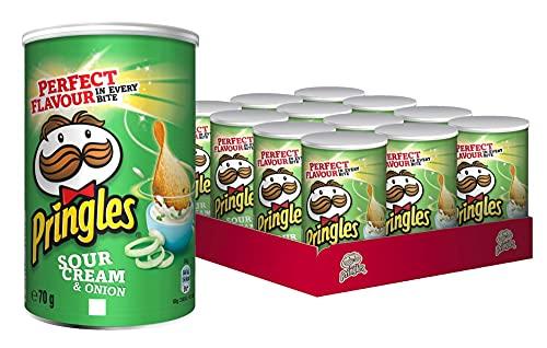 Pringles Sour Cream und Onion   Sourcream Chips   12 kleine Dosen für unterwegs (12 x 70g)