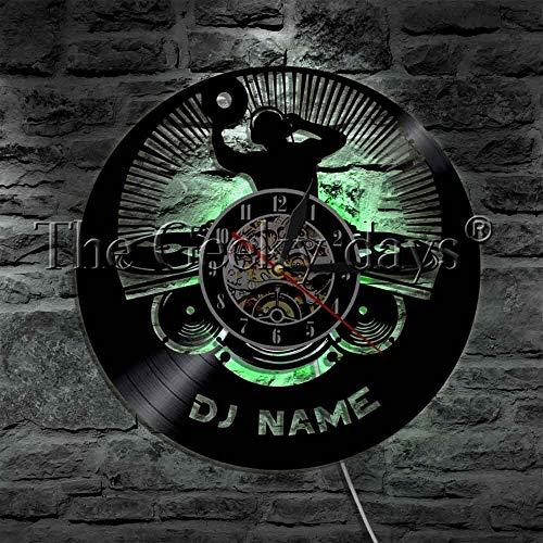 UIOLK Disco de Vinilo lámpara de Pared Rock LED luz Nocturna música Noche Fiesta Reloj de Pared Regalo para DJ