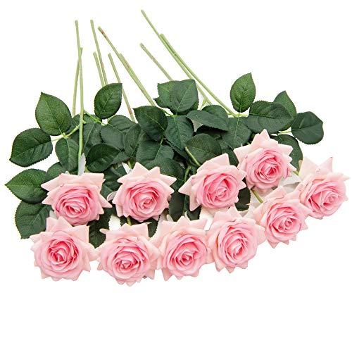 U'Artlines 10 STÜCKE Künstliche Blumen Rosen,Kunstblumen Rosen Einzelner Stiel Brautstrauß,Gefälschte Rose für Hochzeit(Rosa)