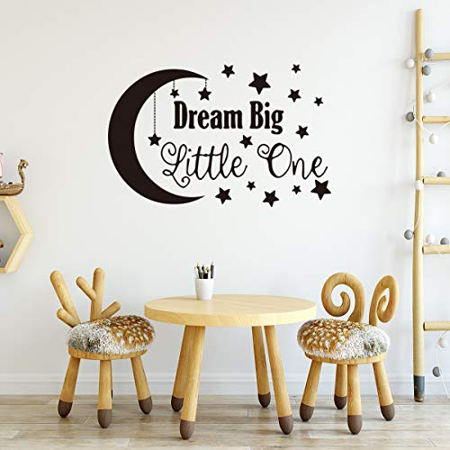 DQGZYF Dream Big Little One Star Moon Wall Stickers PVC English Phrases Home Bedroom Decoration Self-Adhesive 88 * 56cm
