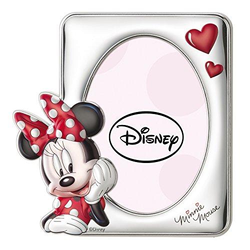 Disney Baby - Cadre photo à poser - en argent - pour table de nuit/chambre d'enfant - cadeau de baptême/anniversaire - motif Minnie Mouse