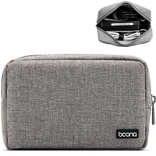 Baona Carrying Bag for AC Adapter, Travel Organizer for Laptop Charger, Pouch Cover Case for Power Cord and Other Accessories, Black (Gray Pouch(S)