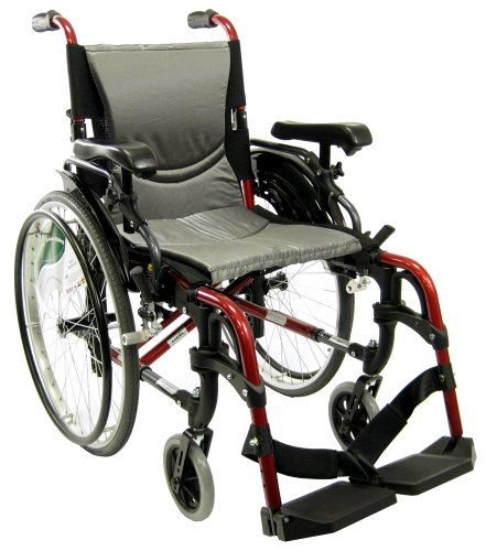 """Karman S-ERGO 305 Lightweight Ergonomic Wheelchair S-Ergo305Q18RS, 29 lbs., Quick Release Wheels, Frame Rose Red, Seat Size 18""""W X 17""""D, Factory Adjustable Seat Height (Default 19"""" Floor To Seat)"""