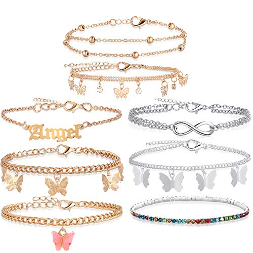 8 Pieces Anklets for Women Cute Charms Butterfly Ankle Bracelets Colorful Rhinestone Anklets Boho Beach Layered Chain Anklets for Girls Foot Jewelry