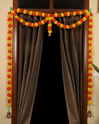 TIED RIBBONS Door Hanging Artificial Marigold Fluffy Flowers Garlands Bandanwar Toran (109 cm X 149 cm) - Decoration Item for Home Door Wall Décor