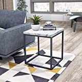 Roomfitters White Marble Print End Table/Side Table/Night Stand, Upgrade Version with Metal Frame Box for Living Room…