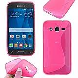 ebestStar - Funda Compatible con Samsung Galaxy Core Prime SM-G360F, 4G SM-G361F VE Carcasa Gel Silicona Gel TPU Motivo S-línea, S-Line Case Cover, Rosa [Aparato: 130.8 x 67.9 x 8.8mm, 4.5'']