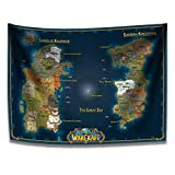 SUIBIAN World of Warcraft Classic Azeroth MAP Tapestry Wall Hanging Decoration for Bedroom Dorm Cool-for Party Art Wall Tapestry 59 x 39in