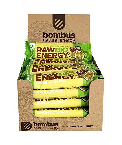 Raw Bio Energy Lemon & Coconut [20 x 50g Bars]- Quality Organic Fruit Ingredients Vegan, No Added Sugar, Gluten- Free