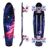 Caroma Skateboards para Principiantes, Mini monopatín de Crucero Completo de 22 Pulgadas con Ruedas con luz LED para niños, Adolescentes, niñas y niños (Rosado)