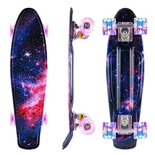 Caroma Skateboard für Mädchen Jungs, Penny Board, 22 Zoll/55cm komplettes Mini Cruiser Skateboard mit LED Light Up Wheels für Kinder Anfänger Jugendliche