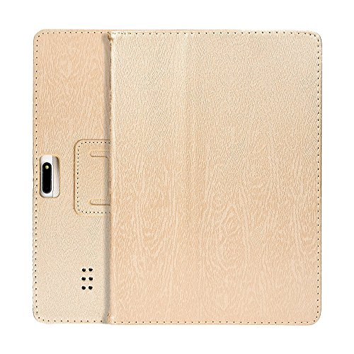 Universal Leather Stand Cover Case,for 10/10.1 Inch Android Tablet PC,Anti-dirts,Anti- Fingerprints, Anti-Aging, Anti-Shock (Gold)