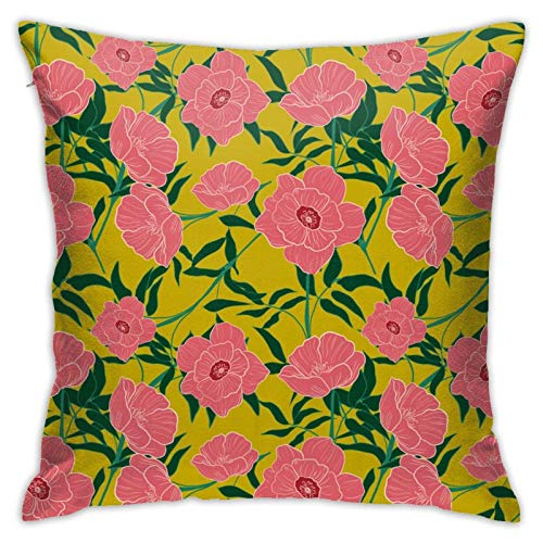45x45cm Fundas Cojín Almohada Microfibra Flores Decorativa con Cremallera Invisible Funda Cojín
