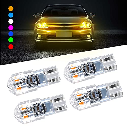 4PCS T10 168 W5W LED Luz de techo de cuña para automóvil 3030 SMD 8 LED Corrente continua decodifica Luz de lectura LED Luz de la placa del auto Luz trasera de maletero 12-24V Universal-Ambar