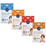 Miss Spa Acne Fighting & Controlling Facial Sheet Mask Exfoliating Set, Deep Cleansing, Overnight Clearing Blemish Patches, Oatmeal Facial Scrub, Skin Care for Women, 4-Pack