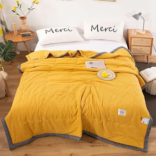 VBHT Colcha fresca de verano grande con aire acondicionado, lavable a máquina, lavable en agua, bonita colcha de color amarillo liso, 180 x 220 cm