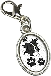 Border Collie of Excellence Antiqued Bracelet Pendant Zipper Pull Oval Charm with Lobster Clasp