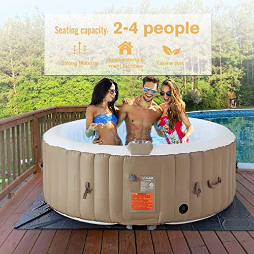 U-MAX Inflatable Hot Tub, 2-4 Person Portable SPA Blow Up Hot Tub with Built in Heater and Bubble Function (Roundness, 71