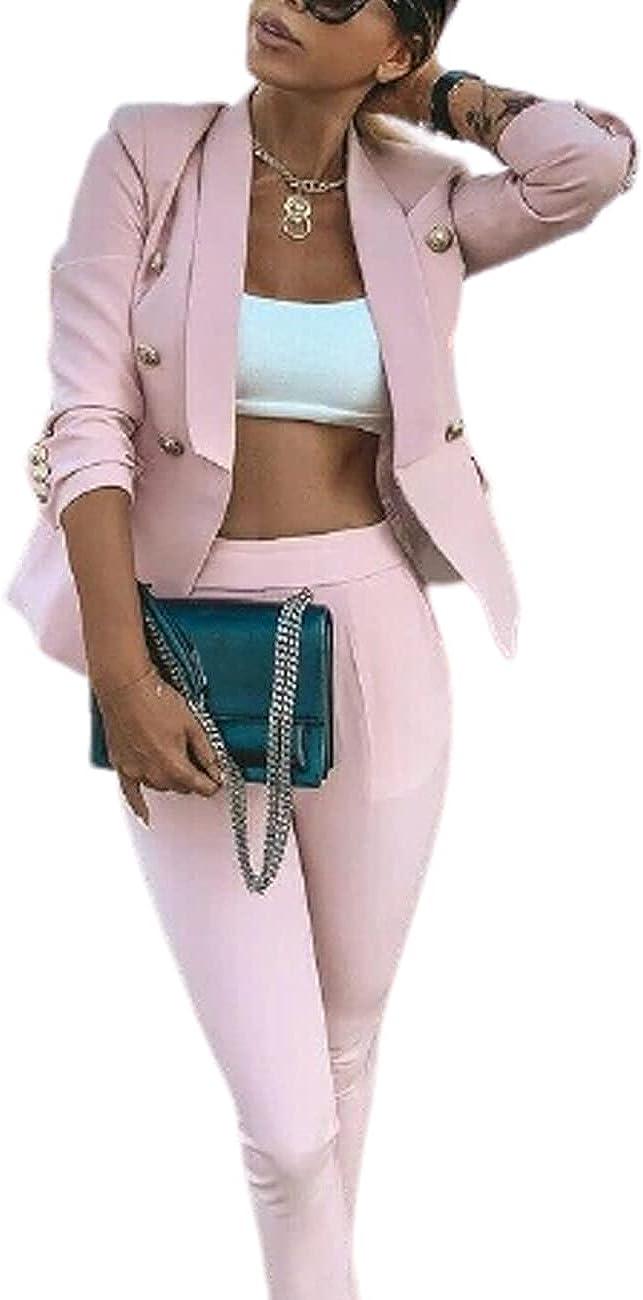 Women Fashion 2PC Suits Set Open Front Long Sleeve 3 Button Suit Blazer and Pants