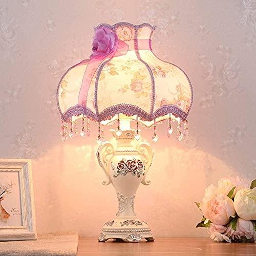 CMMT Lámpara de mesa de la lámpara de escritorio, lámpara de noche del dormitorio, lámpara de mesa caliente creativa, lámpara de mesa de decoración de boda de tela rural