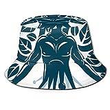 Fisherman Senderismo Sombrero de ala ancha,Figura humana abstracta Ciencia Ecología Tecnología y equilibrio de la naturaleza